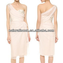 China supplier pink one-shoulder short evening and wedding dress chiffon dress(NTF04026)