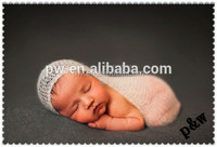 Fashion handmade crochet baby blanket and headband set silk mohair knitted wrap photo prop with flower headband