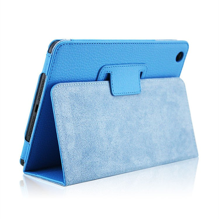New Products Two Folding Litchi Texture PU Leather Stand Case for iPad Mini4