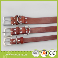 Strong Genuine Cow Leather Small Large Dogs Training Brown Pet Collar Dogift0064