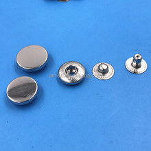 15mm 17mm High Quality Shiny Plain Flat Top Spring Metal Snap Buttons
