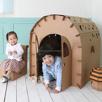 Recycle cardboard DIY paper house toy for kids