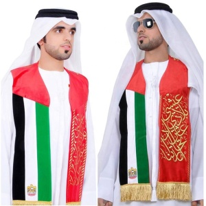 Wholesale of various fabrics custom uae national flag scarf fan scarf for outdoor