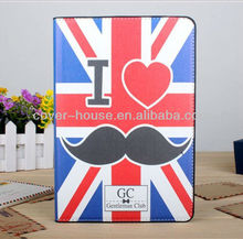 New Arrival for Apple ipad mini cute mustache Gentleman Club case PU leather case stand holder case