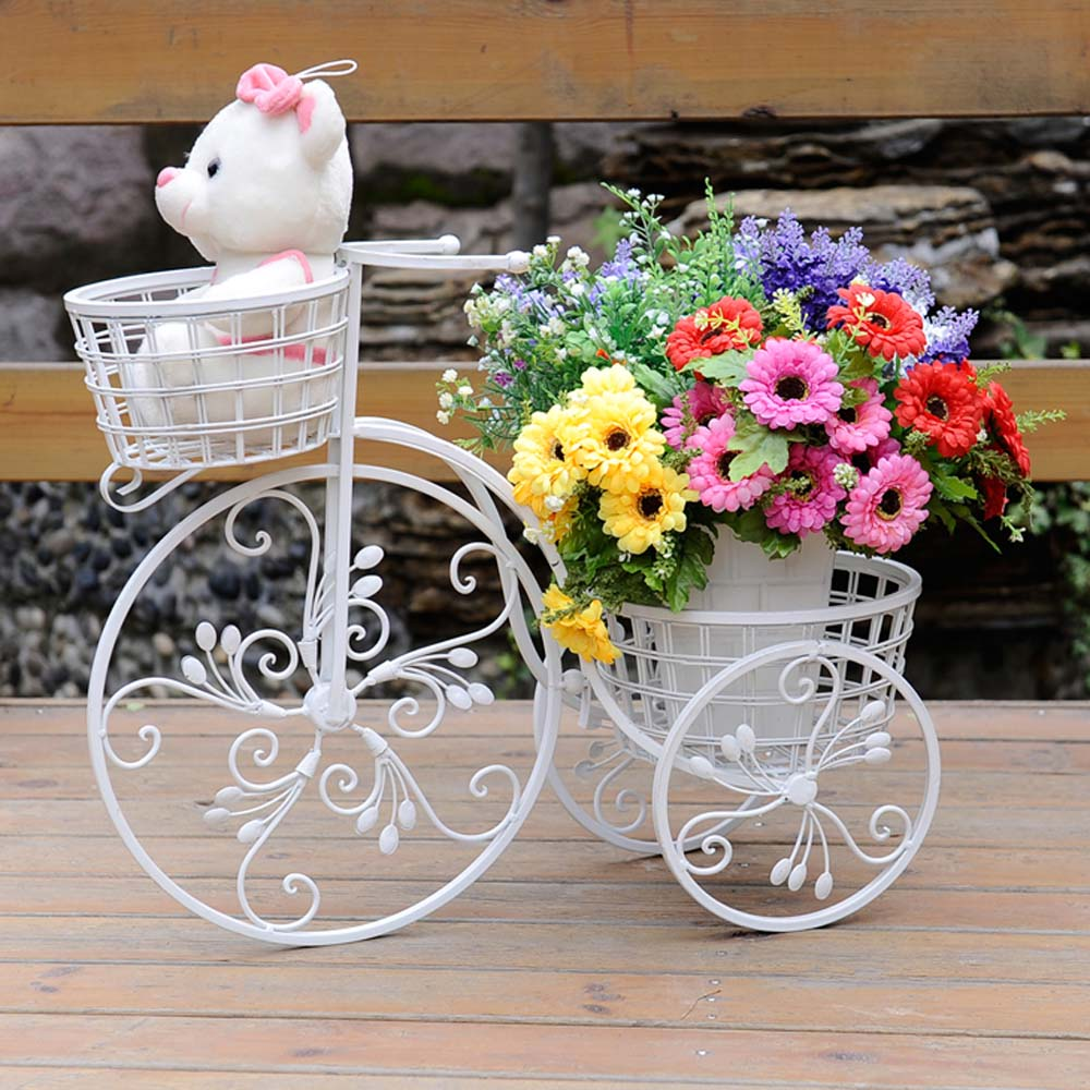 2 pots wrought iron bicycle flower shelf