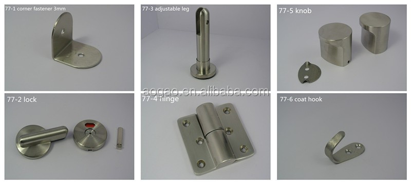 304 stainless steel toilet cubicle accessory