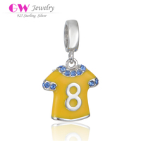 Fashion Jewelery 925 Silver Football Jersey Charms Yellowe Enamel Number 8 Pendant Charms