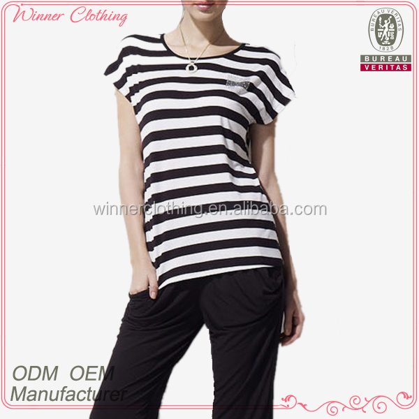 cotton/polyester contrast color stripe fashion t shirt with short sleeve