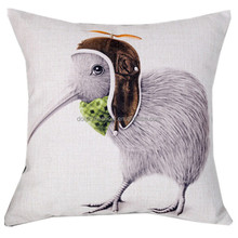 Top selling sofa cushion cover replacement fashion home decorative throw cute kiwi bird plain natural linen cushion cover