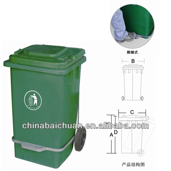 360L,outdoor plastic wheelie dustbin, square body square cover,with footboard or not,garbage can