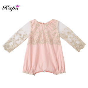 Popular Baby Infant Clothing Lace Long Sleeve Baby Rompers For Baby Girls