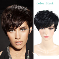 short straight cosplay hair synthetic wigs cute Pixie cut wig perruque synthetic women cheap Afro wig