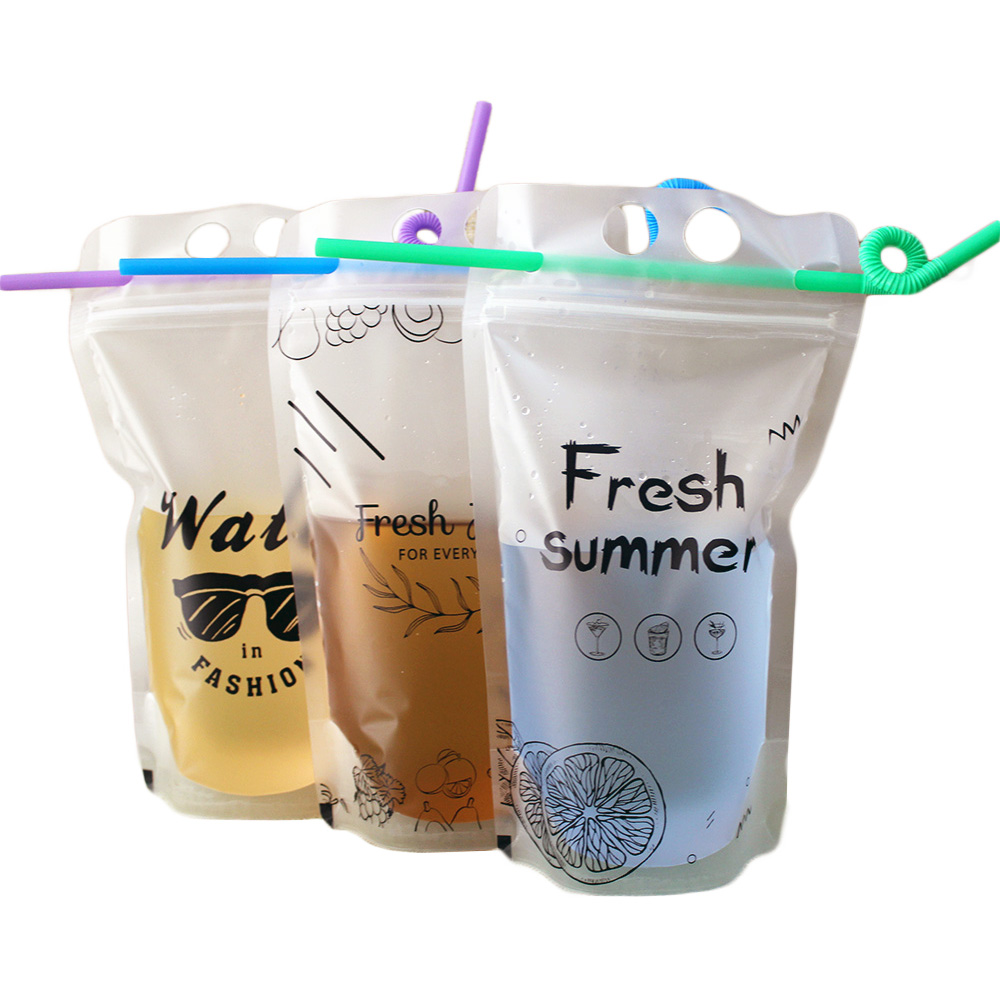 Customized clear stand up plastic juice beverage drink packaging storage <strong>bag</strong>