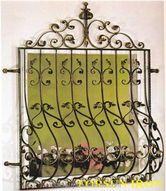 Wrought iron window grill designs for safety
