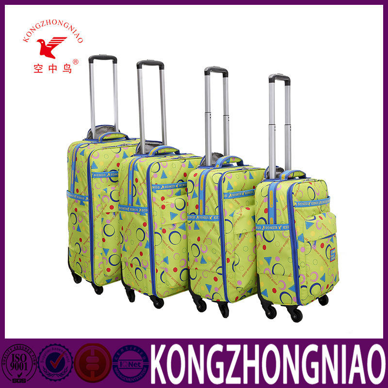 Good quality nylon farbic trolley luggage business luggage printing tag laptop bag