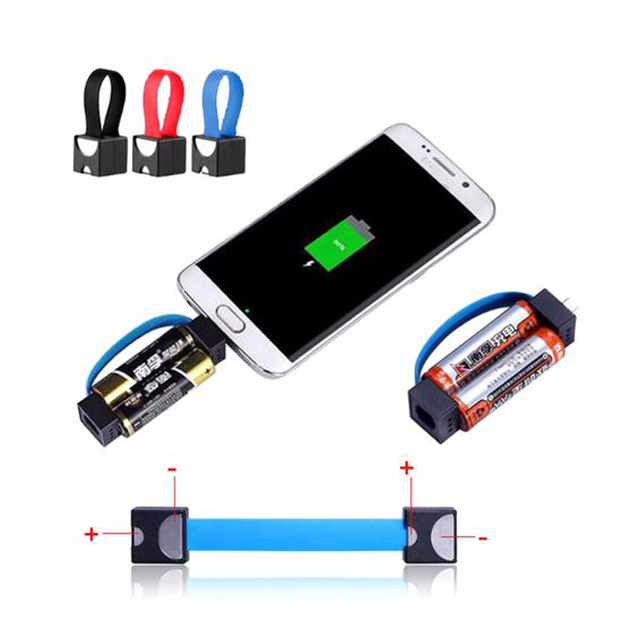Mini Portable Magnetic Micro USB Emergency Power Charger Cable 2 AA Battery Power Charging Adapter for Samsung Phones
