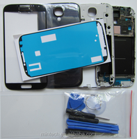 Replacement Silver Middle Frame Bezel and Front Glass For Samsung Galaxy S4 I9500 I9505