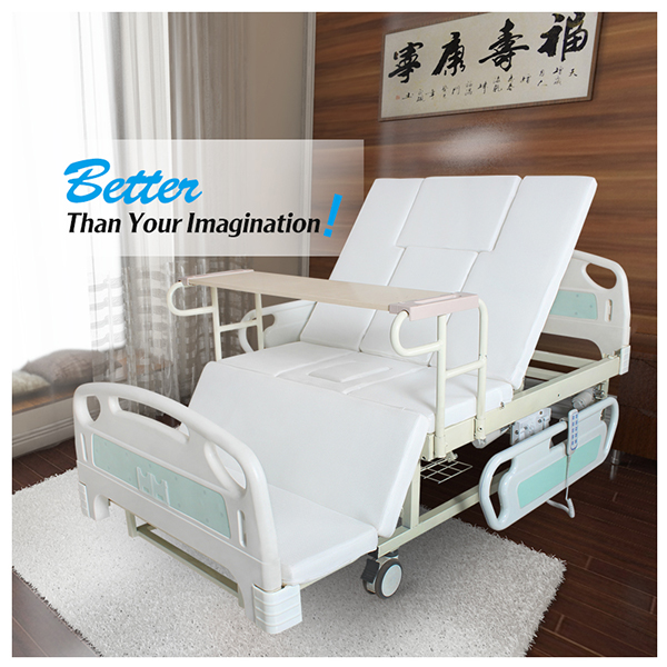 Economic double motors dual model electric manual hospital nursing home bed with anti bedsore mattress