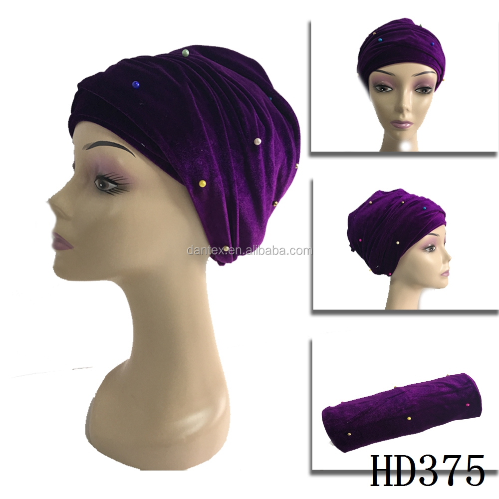 High quanlity nigeria headtie aso oke headtie with beads for ladies corduoy headtie
