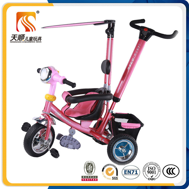 China custom made children kids baby ticycle with roof and rear basket
