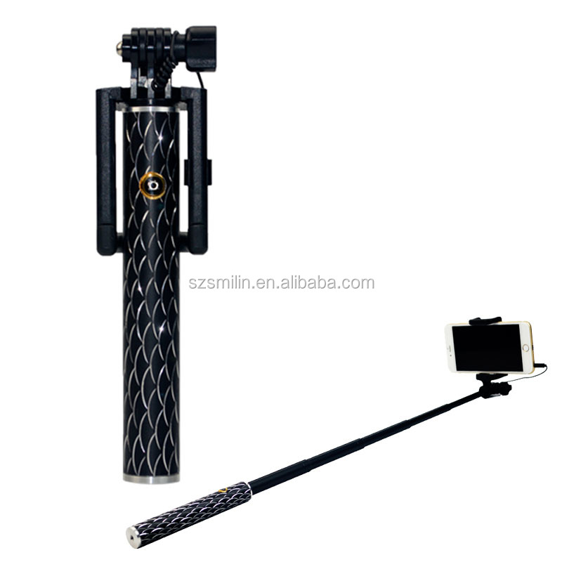 Battery Free Wired Selfie Stick Extendable Cable Control Self-portrait Monopod Pole with Phone Clip for iPhone 6/6 Plus android