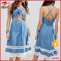 Tie Front Crochet Trim Chambray casual blue long one piece dress