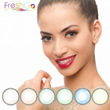 Freshgo yearly big eye soft colored contact lenses natural cheap circle lentes de contacto wholesale