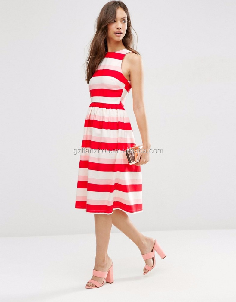 Hot Pretty Contrast White And Red Stripe Dress Sleeveless Casual Women Dress Guangzhou