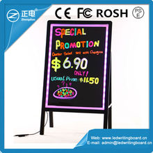 Alibaba Hot Selling ZD LED Writing Board India Acrylic Sandwich Board Rounded Corner Stand Independently Advertising Light Board