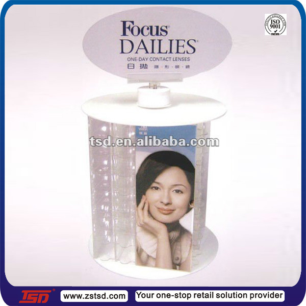 TSD-A615 Custom optical shop round contact lenses display organizer/contact lens display holder/acrylic contact lenses display
