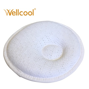 Customized grade A solid washable cooling 100% polyester round 3d air spacer mesh anti roll baby pillow