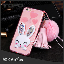 Luxury pendant soft crystal rhinestone Plush Ball Flexible bunny rabbit fur tpu phone case for iphone 6 7 plus with Kickstand