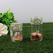High Quality Small Mini Honey Glass Jars Clear Round Glass Spice Jar With Clamp Lid 100ml 150ml