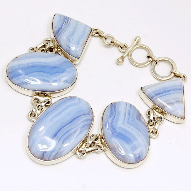 Crazy lace agate Bracelets in Silver 925 Cabochon Manufacture