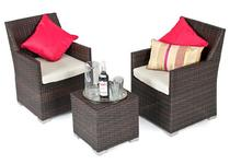 Commercial rattan cafe table and chairs small wicker outdoor furniture