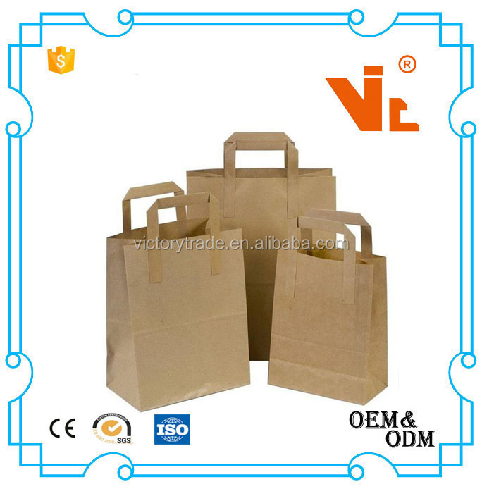 V-PB001 Wholesale cheap custom logo printing brown kcraft paper storage gift bag with handle