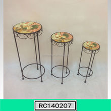 New Launched Metal Plant Stand set of three with Silk Printing Top