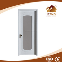 Cheap price!!! PVC surface MDF panel modern bedroom, glass insert wood interior door