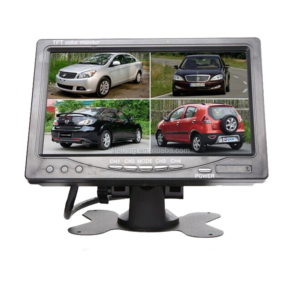 "7"" TFT-LCD Car Rearview Quad Split Monitor with Remote Control and 4 CH Video Inputs"