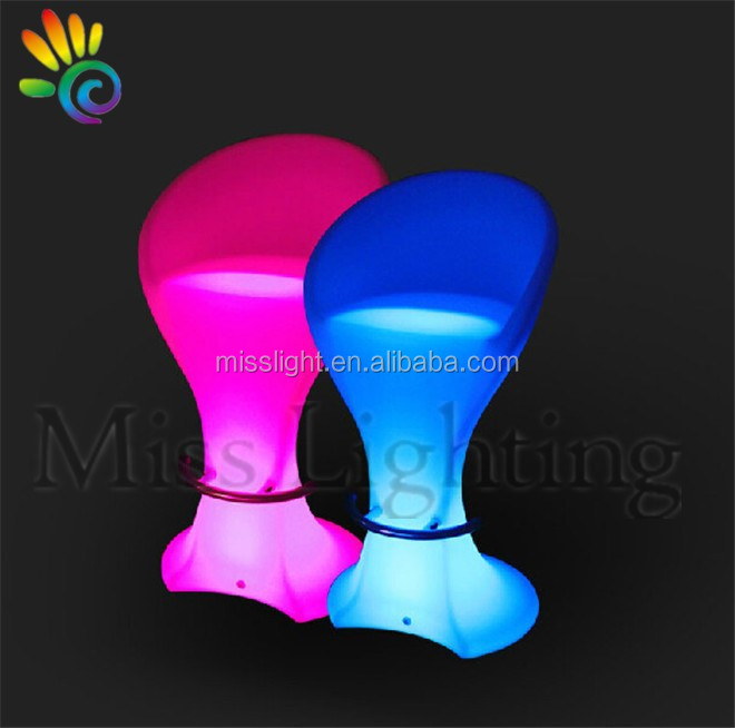 High Quality Remote control RGB colors change led glowing bar furniture bar stools