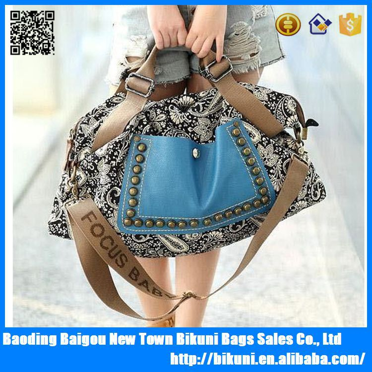 Stylish young ladies beautiful handbags vintage printing women handbag shoulder bag
