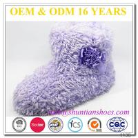 High quality fluffy with satin flower girls winter boots