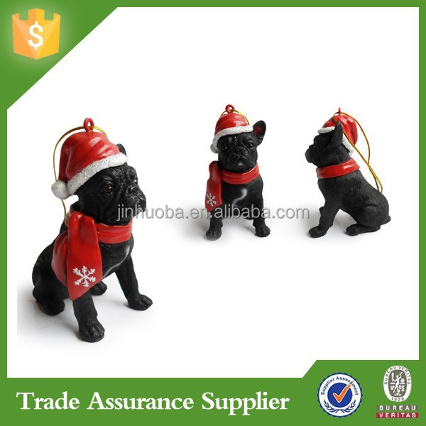 Dog hanging ornaments polyresin wholesale christmas dog ornaments