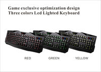 Wired Red/Blue/Yellow LED game keyboard Backlight USB Professional Gaming Keyboard