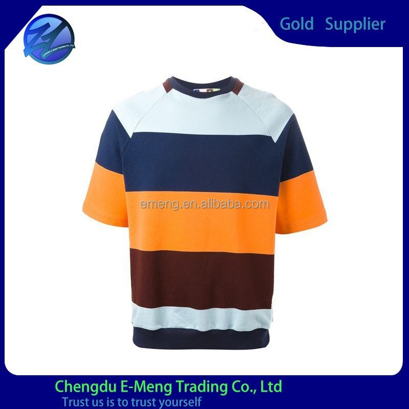 Short sleeve color contrast o-neck t-shirts in bulk for man