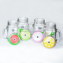 Coloured Fruit Screw Top Lid Colored Straw Clear Glass Mason Jar With Handle