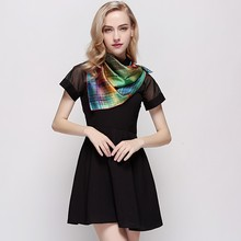 fashion handmade Plain Style and Square Style of Length uniform silk scarf