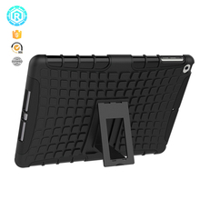 Hard pc with soft tpu hybrid back case for ipad apple cover with foldable kickstand