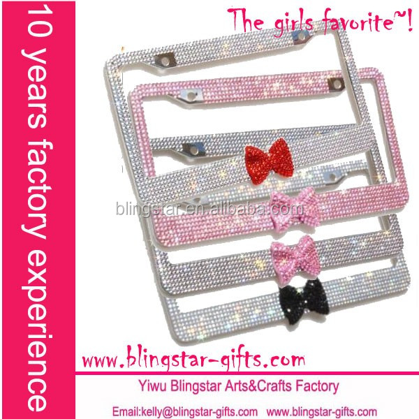 luxury bow tie crystal license frame