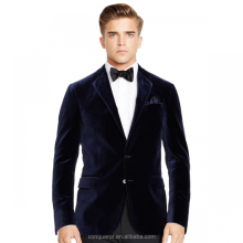 slim fit latest suit design men dark navy velvet blazer